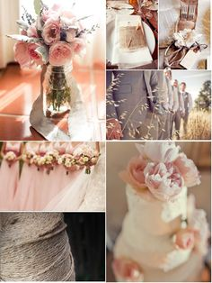 pink, peach, grey. No burlap but I kinda love this. I like the idea of neutrals for my wedding.