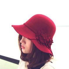 New Designer Look 20s Style Ladies Womens Big Flower Wool Felt Cloche Hat Cap