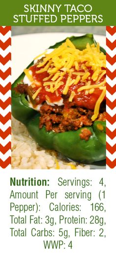 Skinny Taco Stuffed Peppers is one of my favorite healthy lunches! SUPER filling and tasty and only ringing it at 166 calories.