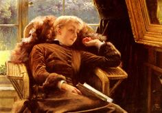 French Painter:  James Tissot,  'Kathleen Newton In An Armchair'  1878  oil on panel --  Kathleen was the love of his life.