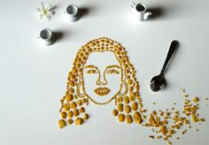 R&B singer-songwriter, pianist, musician and actress Alicia Keys sports big hoop earings in her own Corn Flake portrait.