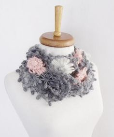 Gloria Crochet Scarf-Gray Pink-Ready for shipping by knittingshop on Etsy