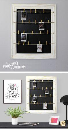 Do it yourself Clothesline Polaroid Picture Frame - Abundance of Everything Polaroid Pictures Display, Polaroid Picture Frame, Polaroid Display, Hanging Picture Frames, Frame Display, Diy Picture Frames On The Wall, Display Cases, Polaroid Foto, Polaroid Frame
