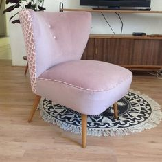 Restored in a pretty powder pink velvet Cocktail Chair Painted Hutch, Cocktail Chair, Mantle Piece, Stackable Chairs, Restaurant, Eames Chairs, Retro Home Decor, Take A Seat, Pink Velvet