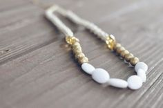 vintage bead and fishing line necklace - DIY