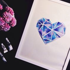 Watercolor love heart geometrical galaxy inspired