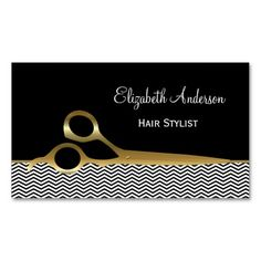 Fashionable hair salon business cards for professional hair stylist with a modern and trendy black and white chevron pattern and embellished with a pair of chic gold hair cutting scissors. #sold