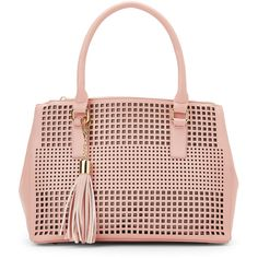 Imoshion Pink Laser-Cut Tassel Satchel ($30) ❤ liked on Polyvore featuring bags, handbags, pink, pink leather satchel, pink handbags, pink leather purse, leather purse and faux leather handbags