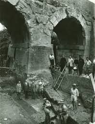 Savignano sul Rubicone, archaeological excavation under the roman bridge (Archivio di Stato di Rimini)