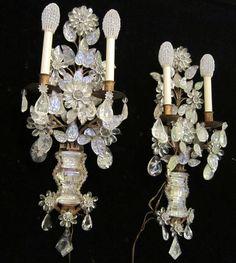 2 French Rock Crystal Maison Bagues Antique Sconces Beaded Vintage Brass Bronze | eBay