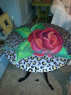 Rose & Leopard side table by Lucky Peach Designs