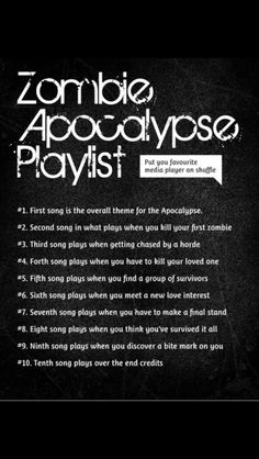 1. Bring me to life (Evanescence) 2. What now (Rihanna) 3. Little talks (Of monsters and men) 4. Smother (Daughter) 5. Happy little pill (Troye Sivan) 6. Three cheers for five years (mayday parade) 7. What I like about you (5SOS) 8. Masterpiece (Jessie J.) 9. Medicine (Daughter) 10. I write sins not tragedies (P!ATD)