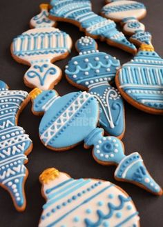 Blue Christmas Ornament Cookies
