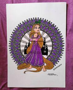 Rapunzel 👸 Mandala Drawing, Mandala Art, Disney Princesses, Mandala Design, Rapunzel, Design Art, Drawings, Tangled, Tangled Rapunzel