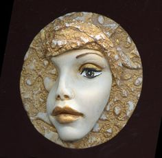 Polymer Clay 3 Inch Large Golden Face Medallion LAM by linsart