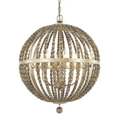 This Lowell collection 6-light pendant features a beautifully hand painted Tuscan bronze finish that will complement many traditional and transitional decors. The globe shaped steel and wood bead desi