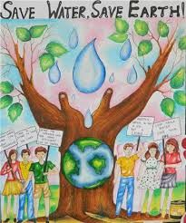 Drawing Poster On Save Water With Slogan