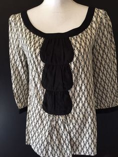 Studio M Medium Black White Cotton Blend Geometric Pattern Top Size Medium #StudioM #Blouse #Casual