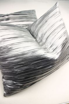 These pillows are ridiculous! Utterly gorgeous part of an incredible bedroom ensemble. Metallic Fashion, Silver Pillows, Silver Lining, Fabric Manipulation, Otaku, Bedroom Ideas, Feels, Curtains, Quilts