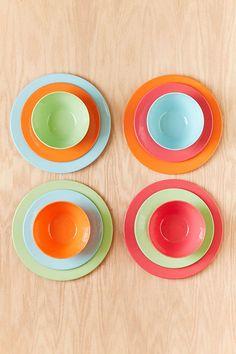 12-Piece Bright Solids Melamine Dinnerware Set & Melmac Plates. Melamine Plates. Vintage Picnic Plates. Camping ...