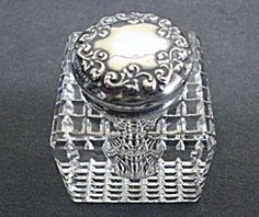 VICTORIAN INKWELL BOTTLE - STERLING / CRYSTAL (Image1)
