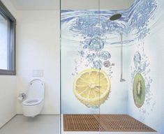 citrus tiled bathroom