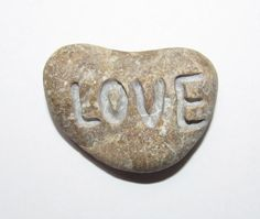 Heart shaped stone hand engraved stone Love rock by uSupplies