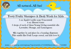 This shampoo and body wash for kids is all natural...no harsh chemicals or ingredients.  Safe, effective and FUN!  Make it at home and make bath-time fun!