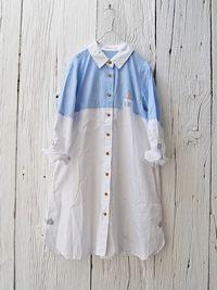おうちパッチワークのシャツワンピース ¥7,245( No.6586・ブルー)    Color:ホワイト/ブルー/生成り