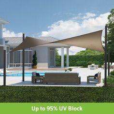Coolaroo Dual x Rectangle Shade Sail Color: Cobblestone Deck Shade, Pool Shade, Patio Sun Shades, Backyard Shade, Outdoor Shade, Backyard Patio, Shade Ideas For Backyard, Backyard Landscaping, Triangle Shade Sail