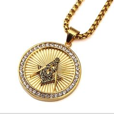 """Men Masonic Necklace Stainless Steel 18K Real Gold Plated Pendant with 27 """"Chain"""