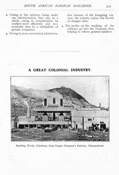 Smelting works, Nababeep ca.1907. South African Railways, Country, Rural Area, Country Music, Rustic