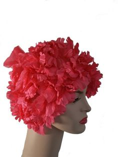 1960's vintage shocking pink flower petals hat by Bermona - reminds me of the swim caps of childhood (but in a good way)
