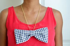 DIY bow necklace; get the how-to at www.sparkandchemistry.com #diy #diynecklace #bow