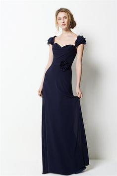 Navy Blue Bridesmaid Dresses, Long Chiffon Bridesmaid Dresses, Ruffle
