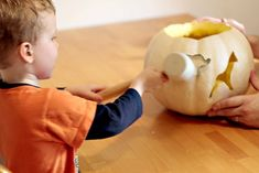 Such a smart way to safely get little kids involved in pumpkin carving - my kiddos are already planning the cookie cutters they want to use for next year!