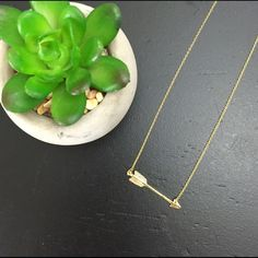 "Arrow Pendant Necklace Thin gold chain with arrow cutout pendant. Approx. 16"" Accessory Jewelry Necklaces"