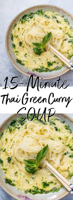 This vegan Thai Green curry soup is a healthy, hearty, and super quick meal that's made from scratch in only 15 minutes! | Thai coconut curry | Thai coconut soup | Vermicelli soup | Vegan soup recipe