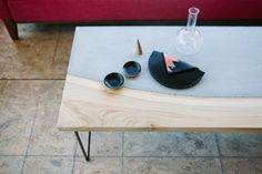 wood and concrete coffee table by Concrete Pig