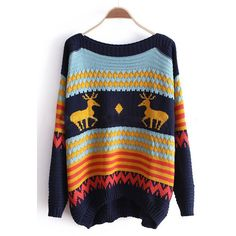 Navy and Blue Striped Deer Boat Neck Sweater ($32) ❤ liked on Polyvore