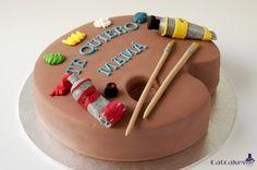 painter pallet cake
