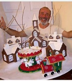 De manualidades van gogh Diy Christmas Village, Christmas Gingerbread House, Christmas Crafts, Merry Christmas, Christmas Decorations, Xmas, Christmas Ornaments, Holiday Decor, Natal Do Mickey Mouse