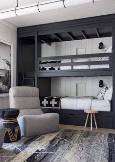 The Mountain Fixer: Kids Bunk Room Update - bunk room design and overall floor plan for mountain house - Bunk Beds Boys, Bunk Bed Rooms, Bunk Beds Built In, Modern Bunk Beds, Boys Bunk Bed Room Ideas, Black Bunk Beds, Adult Bunk Beds, Built In Beds For Kids, Bunk Bed Wall