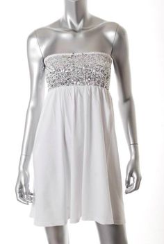 Victorias Secret LUDI white/silver sequin short dress S stretch smocked Moda NEW