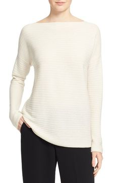 Vince Boat Neck Horizontal Rib Cashmere Sweater available at #Nordstrom