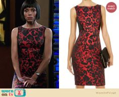 Camille's red leopard print dress on Bones. Outfit Details: http://wornontv.net/26832 #Bones #fashion