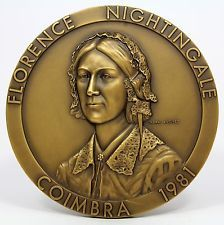 BRONZE MEDAL BIG / FLORENCE NIGHTINGALE / ENGLISH NURSE PIONEER / NURSE SYMBOL