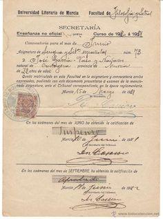 Documentos antiguos: universidad literaria de murcia. Certificado de fecha 15-mayo-1921 - Foto 1 - 53011892