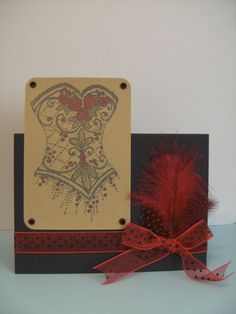 Beads and Feathers.  Stampendous Cling - Beaded Bodice