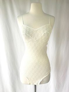 89753a141 1980s Bridal Teddy Lingerie Ivory Lace Teddy Vintage Nylon